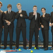 (L-R) Thanasi Kokkinakis, Ben Mitchell, Luke Saville, Blake Mott, Jacob Grills and Harry Bourchier; Emily Mogic.