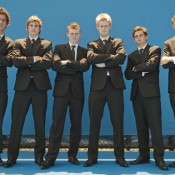 Young Australian prospects (L-R) Thanasi Kokkinakis, Ben Mitchell, Blake Mott, Luke Saville, Jacob Grills and Harry Bourchier get suited up at Melbourne Park ahead of the Newcombe Medal; Emily Mogic.