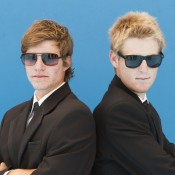 Ben Mitchell (L) and Luke Saville don their sunglasses; Emily Mogic
