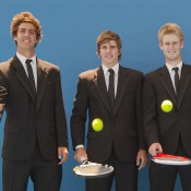 (L-R) Thanasi Kokkinakis, Ben Mitchell and Luke Saville; Emily Mogic.