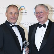Wayne McKewen (L) poses with Frank Sedgman after winning the Excellence in Officiating Award at the 2012 Newcombe Medal Australian Tennis Awards; Mae Dumrigue