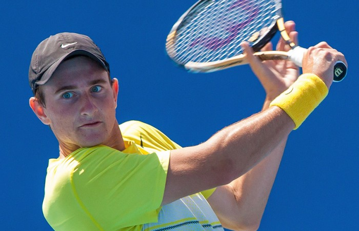 Bradley Mousley in action during the 2012 Optus 16 Australian Championships at Melbourne Park; Matt Johnson