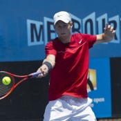 Luke Saville progressed to the quarterfinals of the Australian Open 2013 Playoffs in straight sets.