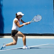 18-year-old Viktorija Rajicic fought hard in her quarterfinals match against third seed Monique Adamczak's aggressive forehand.