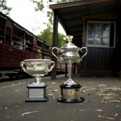 The Norman Brookes Challenge Cup (L) and the Daphne Akhurst Memorial Cup at Menzies Creek station, one of the stops along the historic Puffing Billy steam train line in Victoria's Dandenong Ranges; Bek Johnson
