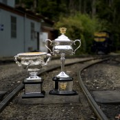 The Australian Open trophies on the tracks of the Puffing Billy steam train line at Belgrave, Victoria; Bek Johnson