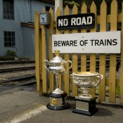 The Australian Open trophies at Belgrave, Victoria as part of the trip on the Puffing Billy steam train; Bek Johnson