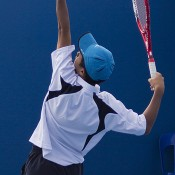 Richard Yang in action for Victoria in the Optus 14s teams final against New South Wales at Melbourne Park; Georgina Leeder