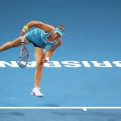 Sam Stosur opened her 2012 season on a bright note at the Brisbane International, romping past Anastasiya Yakimova in the first round before a packed crowd on Pat Rafter Arena; Getty Images