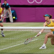 Shortly after Wimbledon, Stosur returned to the All England Club for the London 2012 Olympics tennis event, combining with Lleyton Hewitt (L) in the mixed doubles and progressing to the quarterfinals; Getty Images
