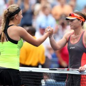 Despite playing her best ever match against Azarenka, the Belarusian still managed to pip Stosur (R), winning a high-quality and nail-biting contest 6-1 4-6 7-6(5) on Arthur Ashe Stadium to progress to the semifinals; Getty Images