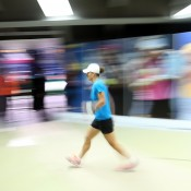 Sam Stosur warms up backstage before her match against Maria Sharapova at the season-ending WTA Championships in Istanbul, where she was an alternate; Getty Images for WTA