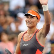 Sam Stosur waves to the crowd on Louis Armstrong Stadium after winning her fourth round match against Laura Robson of Great Britain; Getty Images