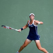 Following the US Open, Stosur travelled to Asia, where she kept her eye on the ball during her quarterfinal match in Tokyo against world No.2 Maria Sharapova; Getty Images