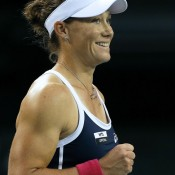 Stosur celebrates her quarterfinal win over Maria Sharapova at the Toray Pan Pacific Open in Tokyo, just her second win in 12 career meetings with the Russian; Getty Images; Getty Images