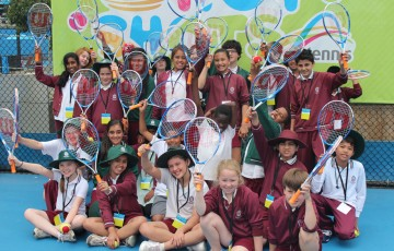 School kids enjoy their time at Melbourne Park during the December Showdown.