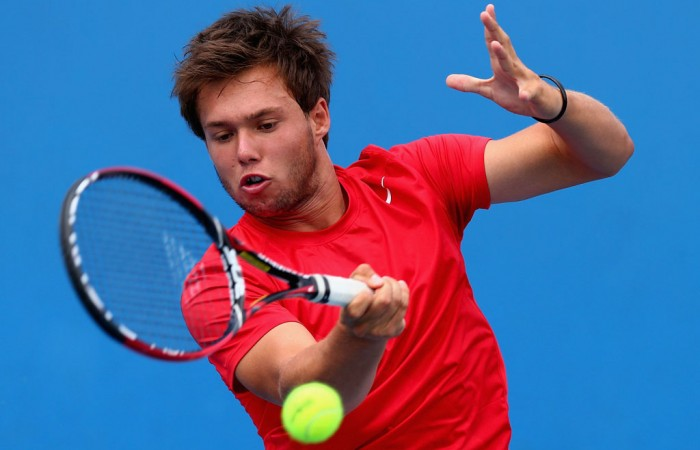Jay Andrijic of Australia plays a forehand in his first round match against Filippo Baldi of Italy during the 2013 Australian Open Junior Championships at Melbourne Park on January 19, 2013 in Melbourne, Australia; Getty Images