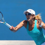 Anastasia Rodionova of Australia plays a forehand during her match against Nastassja Burnett of Italy during Australian Open qualifying at Melbourne Park on January 10, 2013 in Melbourne, Australia; Getty Images
