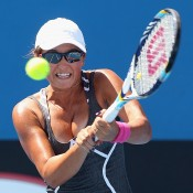 Arina Rodionova of Australia plays a backhand during her match against Maria Irigoyen of Argentina during Australian Open qualifying at Melbourne Park on January 10, 2013 in Melbourne, Australia; Getty Images