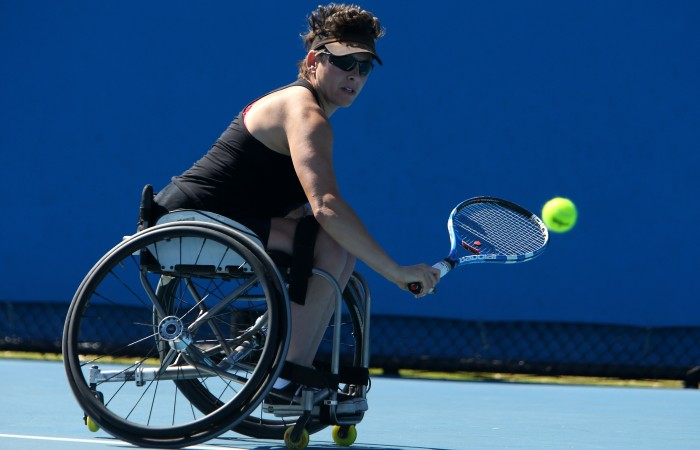 Daniela Di Toro of Australia plays a shot against Lucy Shuker of Great Britain during the 2013 Australian Open Wheelchair Championships at Melbourne Park on January 23, 2013 in Melbourne, Australia; Getty Images