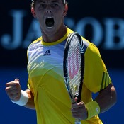 James Duckworth of Australia celebrates winning the second set in his first round match against Ben Mitchell of Australia during day two of the 2013 Australian Open at Melbourne Park on January 15, 2013 in Melbourne, Australia; Getty Images