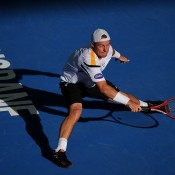 Lleyton Hewitt of Australia plays a forehand during his match against Denis Istomin of Uzbekistan on day five of the Brisbane International at Pat Rafter Arena on January 3, 2013 in Brisbane, Australia; Getty Images