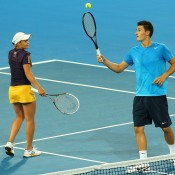 Bernard Tomic and Ashleigh Barty of Australia contest the mixed doubles match against Francesca Schiavone and Andreas Seppi of Italy during day six of the Hopman Cup at Perth Arena on January 3, 2013 in Perth, Australia; Getty Images