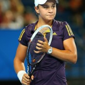 Ashleigh Barty of Australia looks on in her singles match against Francesca Schiavone of Italy at the Hopman Cup; Getty Images