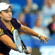 Ash Barty strikes a volley in her singles match against Francesca Schiavone of Italy during Day 6 of the Hopman Cup at Perth Arena; Getty Images