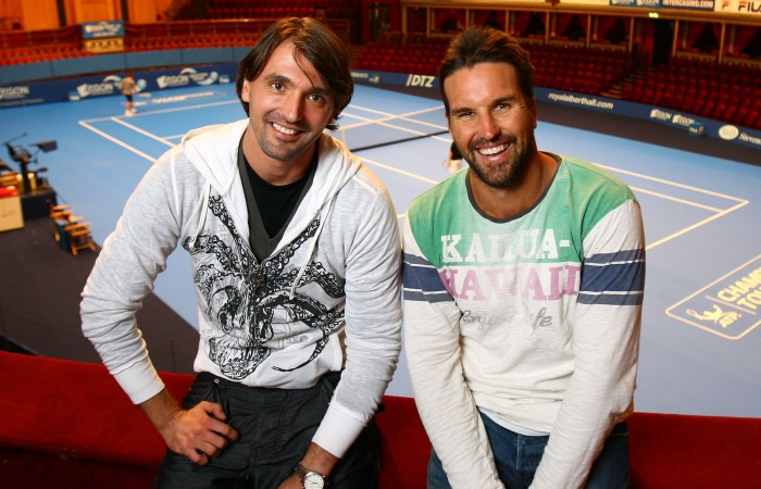 Goran Ivanisevic of Croatia and Pat Rafter of Australia pose for a photo during day one of the AEGON Masters Tennis at the Royal Albert Hall on December 1, 2009 in London, England. They will compete again for the first time since their Wimbledon 2001 final match; Getty Images