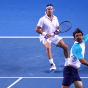 Goran Ivanisevic (R) and Pat Cash, seen here competing during the Australian Open 2012 Legends event, will be back in action for the event at Australian Open 2013; Getty Images