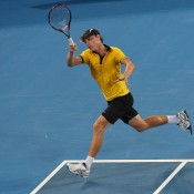 John Millman of Australia plays a forehand during his match against Andy Murray of Great Britain on during day five of the Brisbane International at Pat Rafter Arena on January 3, 2013 in Brisbane, Australia; Getty Images