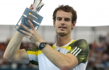 Andy Murray holds the winners trophy after defeating Grigor Dimitrov in the fianl of the Brisbane International at Pat Rafter Arena; Getty Images