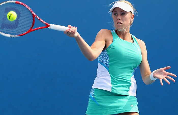 Tammi Patterson of Australia plays a forehand during her match against Zuzana Ondraskova of Czech Republic during Australian Open qualifying at Melbourne Park on January 10, 2013 in Melbourne, Australia; Getty Images