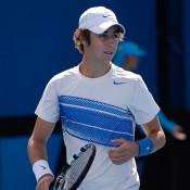 Jordan Thompson of Australia looks on in his match on Day 1 of Australian Open 2013 qualifying against Nicolas Renavand of France