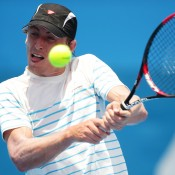John Millman of Australia plays a backhand in his first round match against Tommy Robredo of Spain during day three of Sydney International at Sydney Olympic Park Tennis Centre on January 8, 2013 in Sydney, Australia; Getty Images
