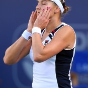 Nadia Petrova shows signs of stress during her loss to Sara Errani in the quarterfinals of the WTA Dubai Duty Free Tennis Championships; Getty Images