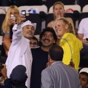 Football legend Diego Maradona (centre) meets Caroline Wozniacki (R) at the WTA Dubai Duty Free Tennis Championships; Getty Images