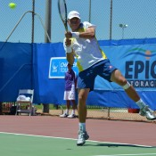 James Duckworth in action at the Charles Sturt Adelaide International Pro Tour event at West Lakes Tennis Club; Stephen Cornwell