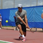 Paul Kramberger in action at the Charles Sturt Adelaide International Pro Tour event at West Lakes Tennis Club; Stephen Cornwell