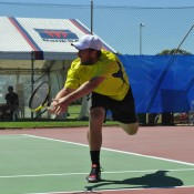 Colin Ebelthite in action at the Charles Sturt Adelaide International Pro Tour event at West Lakes Tennis Club; Stephen Cornwell