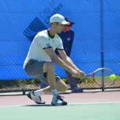 Michael Look in action at the Charles Sturt Adelaide International Pro Tour event at West Lakes Tennis Club; Stephen Cornwell