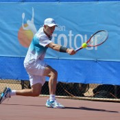 Luke Saville in action at the Charles Sturt Adelaide International Pro Tour event at West Lakes Tennis Club; Stephen Cornwell