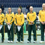 The Australian Fed Cup team of (L-R) Ash Barty, Jarmila Gajdosova, Casey Dellacqua, Sam Stosur and captain Alicia Molik on Day 1 of the Australia v Czech Republic World Group tie in Ostrava; Martin Sidorjak, Tennis Arena