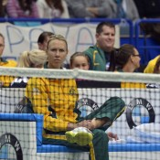 Fed Cup captain Alicia Molik and the rest of the Australian Fed Cup team watch Jarmila Gajdosova in action against Petra Kvitova; Martin Sidorjak, Tennis Arena