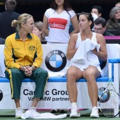 Jarmila Gajdosova (R) discusses tactics with Fed Cup captain Alicia Molik; Martin Sidorjak, Tennis Arena