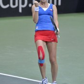 Lucie Safarova of the Czech Republic celebrates her 7-6(6) 7-6(4) victory over Sam Stosur in their Fed Cup World Group first round tie singles rubber; Martin Sidorjak, Tennis Arena
