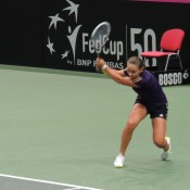 Ashleigh Barty hits a backhand during the Australian team's practice session ahead of its Fed Cup tie against the Czech Republic; Tennis Australia