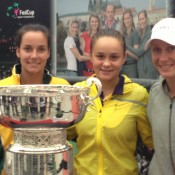 (L-R) Jarmila Gajdosova, Ashleigh Barty and Sam Stosur pose with the Federation Cup trophy in Ostrava, which the Czech Republic currently holds; Tennis Australia