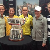 (L-R) Fed Cup coach Nicole Bradtke, Jarmila Gajdosova, Ashleigh Barty, Sam Stosur and Fed Cup captain Alicia Molik pose with the Federation Cup trophy in Ostrava, Czech Republic; Tennis Australia